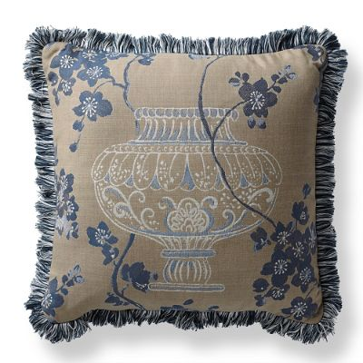 Ming Blossom Denim Outdoor Pillow Frontgate