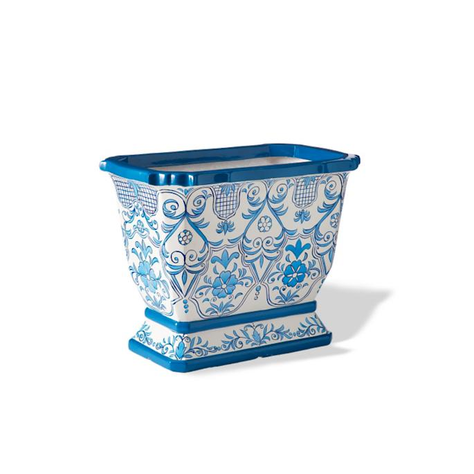 Blue And White Rectangular Tabletop Planter Frontgate