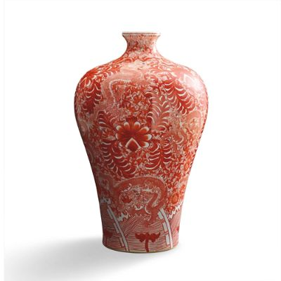 Coral And White Chinoiserie Large Dragon Vase Frontgate