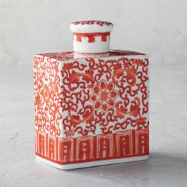Coral and White Chinoiserie Rectangular Lidded Jar