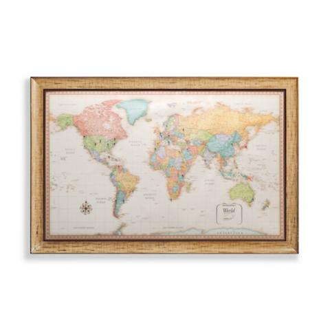 World magnetic travel map with antique white frame frontgate world magnetic travel map with antique white frame gumiabroncs Gallery