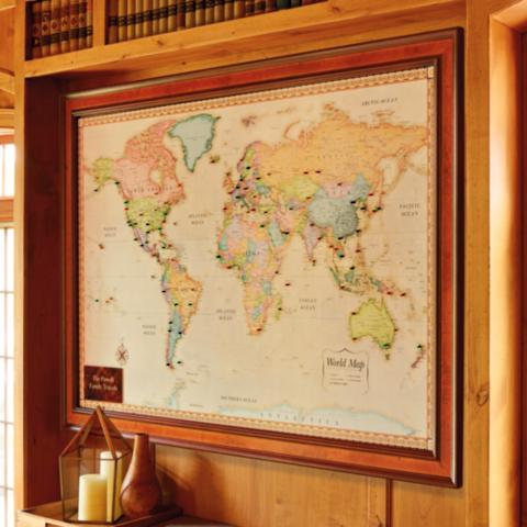 World magnetic travel map with burlwood frame frontgate world magnetic travel map with burlwood frame gumiabroncs Gallery
