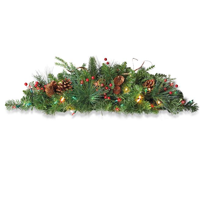 Outdoor Christmas Window Swags.Deluxe Classic Window Swag