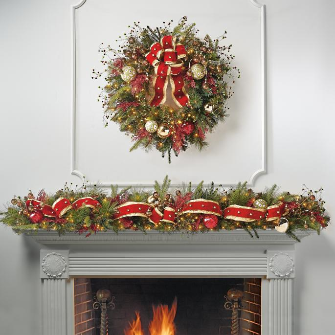 Under The Mistletoe Pre Decorated Garland Frontgate