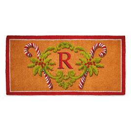 Peppermint Stick Monogrammed Entry Mat