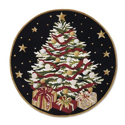 Holiday Tree Round Rug Frontgate