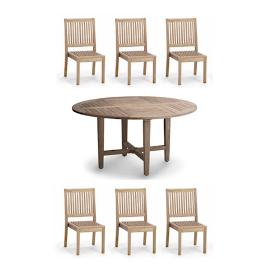 Cassara 7-pc. Round Dining Set in Weathered Finish