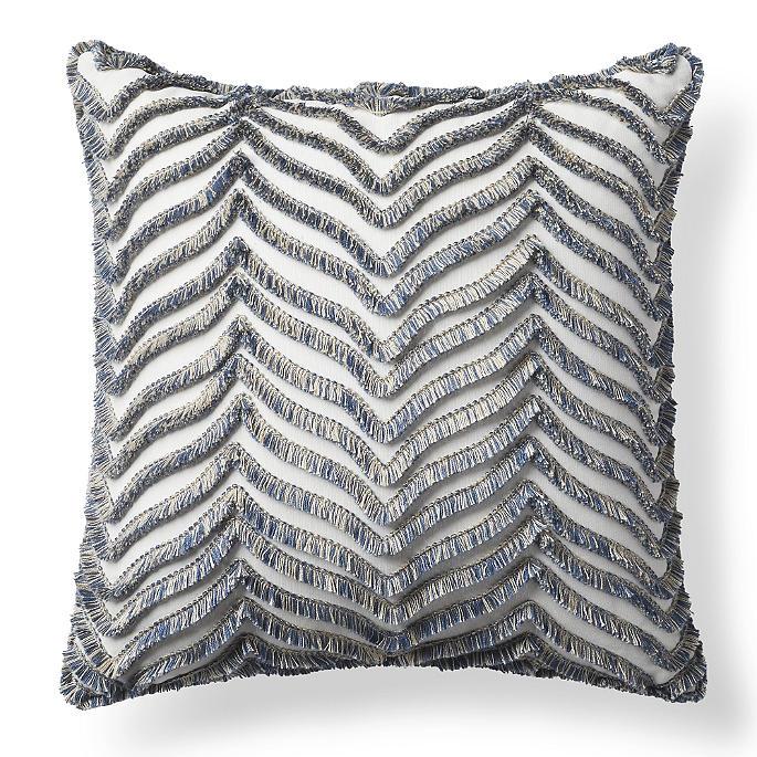 Eyelash Chevron Denim Outdoor Pillow Frontgate