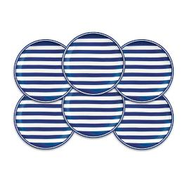 Beach Towel Stripe Canapes, Set of Six