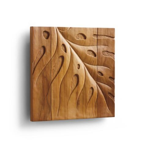 Tropical Leaf Teak Wall Art | Frontgate