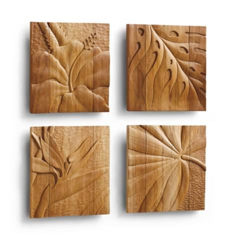 Teak Wall Art, Set of Four | Frontgate