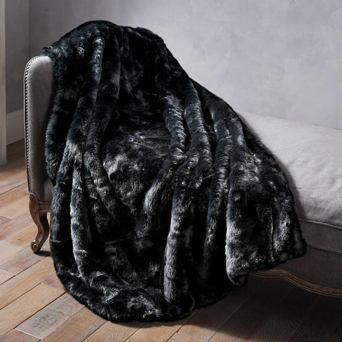 Luxury Faux Fur Throw in Panther   Frontgate 50631fa538