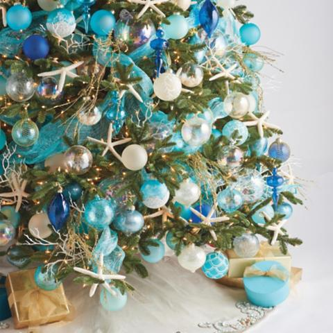 seaside coastal 60 pc ornament collection - Beach Style Christmas Decorations