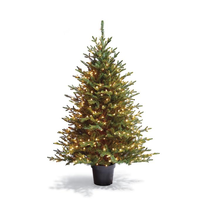 Potted Artificial Christmas Tree: Fraser Potted Artificial Pre-lit Christmas Tree
