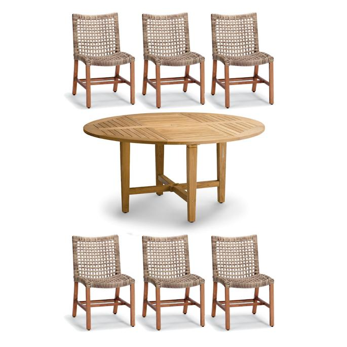 Round Dining Set In Natural Finish