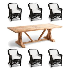 Hampton Washed Teak 7-pc. Dining Set in Black
