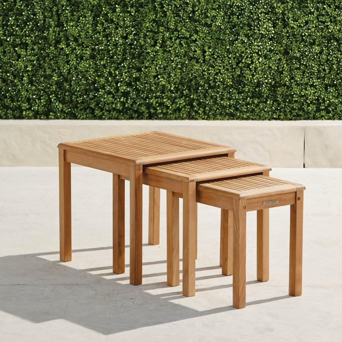 Teak Nesting Tables Set Of Three In Natural Finish Frontgate
