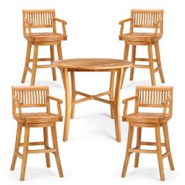 Cassara 5-pc. High Dining Set in Natural Finish