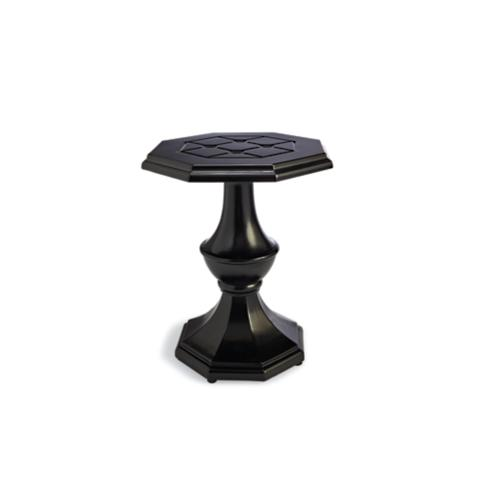 Charmant Grayson Pedestal Side Table In Black Finish