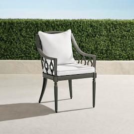 Avery Dining Arm Chair With Cushion In Slate Finish