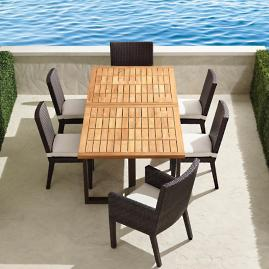 Pierce 7-pc. Extending Teak Dining Set in Bronze