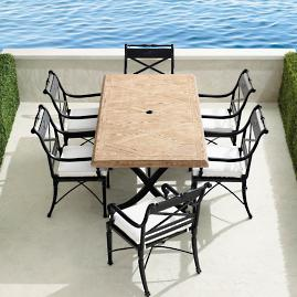 Carlisle 7-pc. Faux Wood Dining Set in Onyx