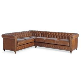 Petite Barrow Leather Right-facing One-arm Sofa/Left-facing