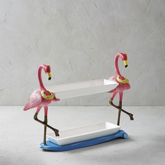 Hawaiian Flamingo Two Tier Tray Server Frontgate