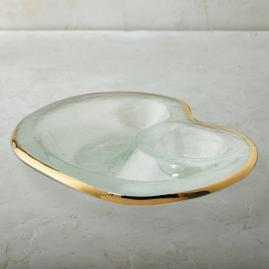 Gold Rimmed Chip and Dip Server