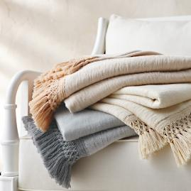 Macrame Fleece Fringe Throw