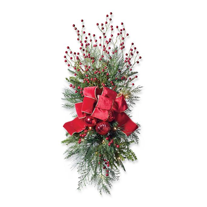 Christmas Cheer Cordless Staircase/Door Swag With Bow, Set Of Two by Frontgate