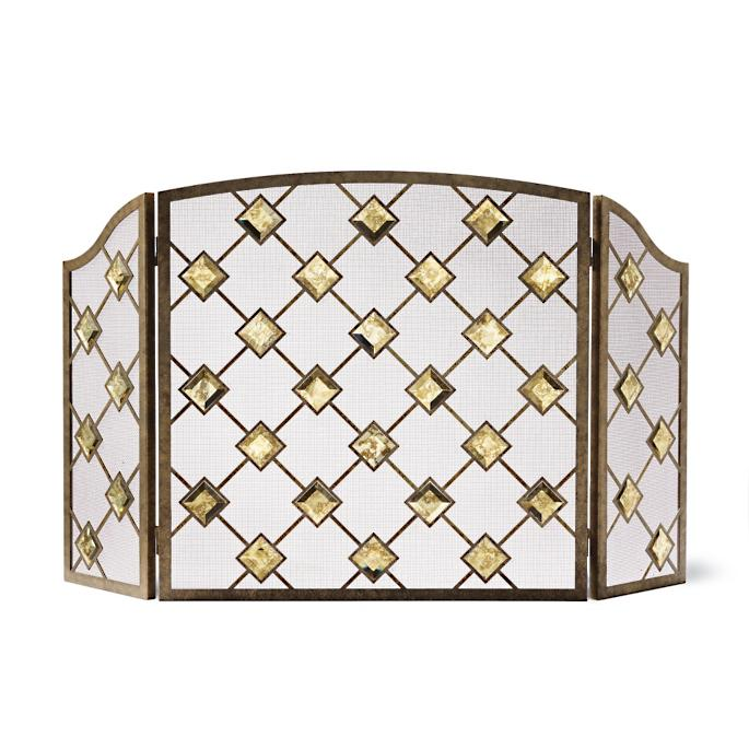 Viceroy Mercury Glass Tri Fold Fireplace Screen Frontgate