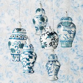 French Blue and Linen Traditional Ming Glass Ginger