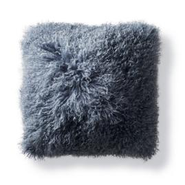 Mongolian Fur Square Decorative Pillow in Stone Blue