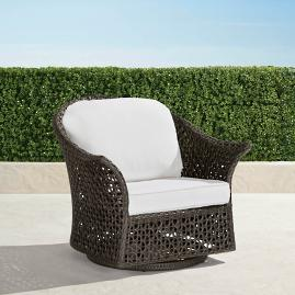 Maxwell Woven Swivel Chair in Bronze Finish