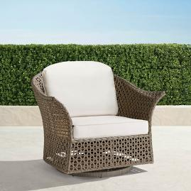 Maxwell Woven Swivel Chair in Pebble Finish