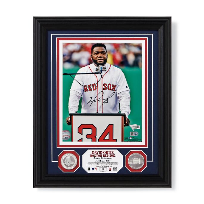 check out e8d17 868fd David Ortiz Jersey Retirement Autographed Photo | Frontgate