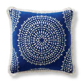 Peek-a-Bloom Cobalt Square Pillow