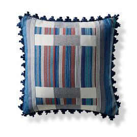 Chromata Nautical Outdoor Pillow with Sapphire Loop Fringe