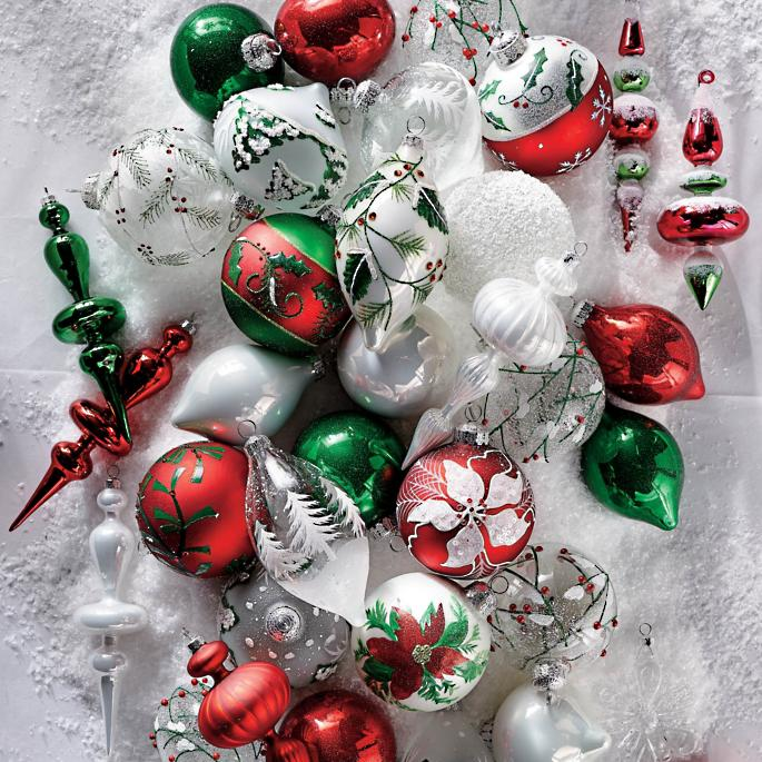 Christmas Ornament Sets.White Christmas 60 Pc Ornament Collection