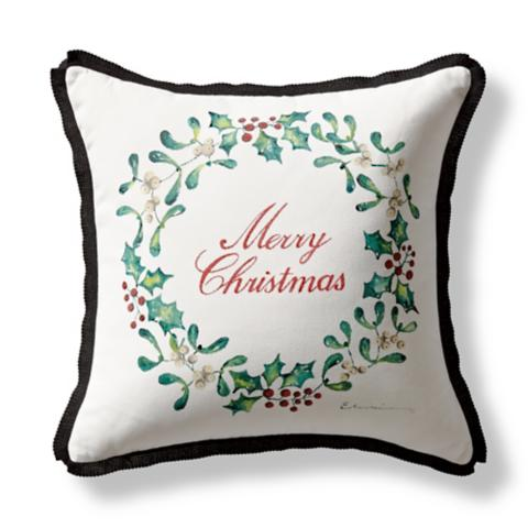 handpainted holly indooroutdoor pillow - Christmas Outdoor Pillows