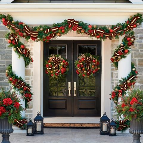 grand regency cordless 6 outdoor garland - Cordless Outdoor Christmas Decorations