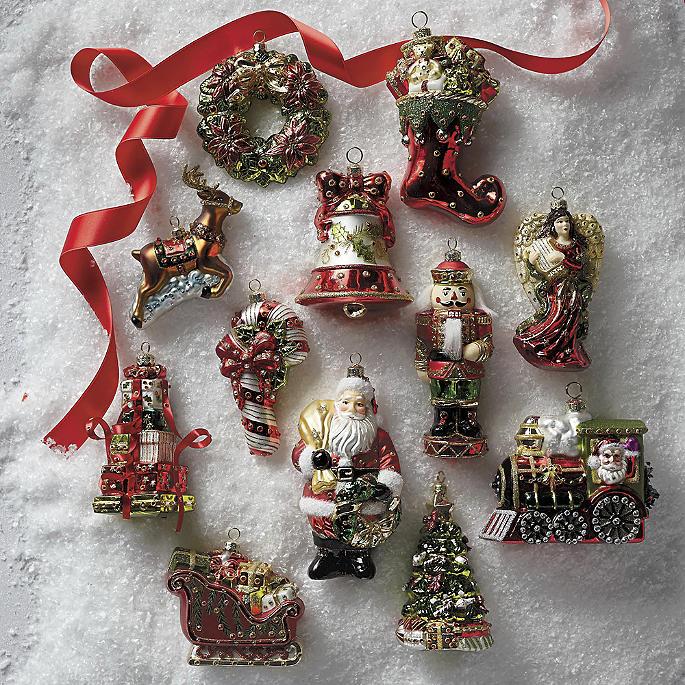Christmas Tidings Icon Ornaments, Set Of 12