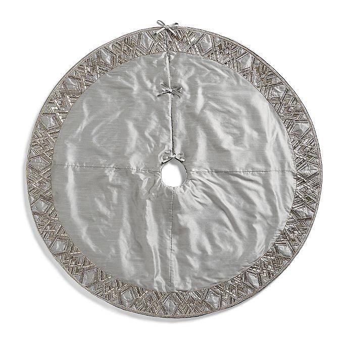 Silver Beaded Chevron Tree Skirt