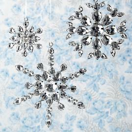 Jeweled Snowflake Ornaments, Set of 12