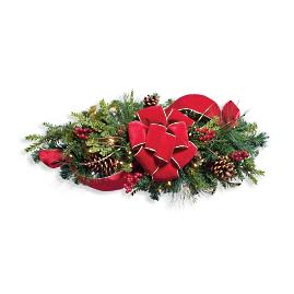 "Christmas Cheer 30"" Horizontal Window Swag with Bow"