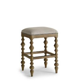 "Campbell Carved Backless Bar Height Stool (30""H Seat)"
