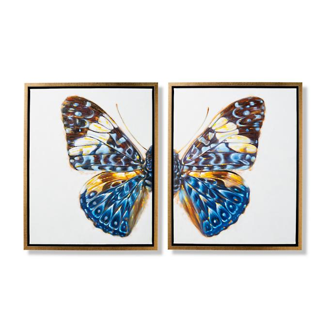 Flutter Handpainted Diptych   Frontgate