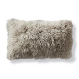 Mongolian Fur Decorative Lumbar Pillow Cover in Silver