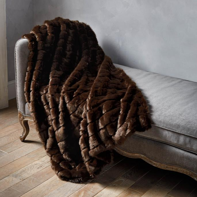 Luxury Faux Fur Throw in Channeled Mink   Frontgate 5f4a48cfaa